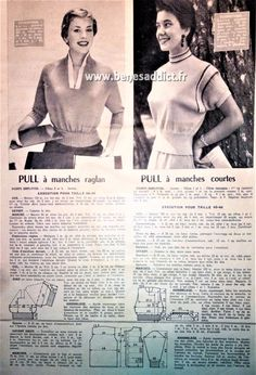 Mode Vintage, Vintage Ads, Knitting Patterns Free, Free Knitting, Patron Vintage, Vintage Knitting, Fashion History, Couture, Knitwear