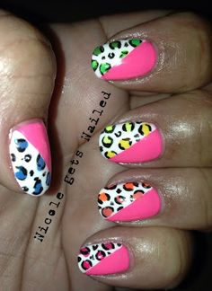 Neon Pink with Neon Leopard Rainbow #nails #nailart