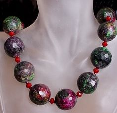 Green Purple Zoisite Necklace  19lg 48cm Silver Coated by camexinc, $45.00