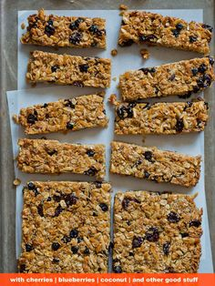 These have all the nice things you could possibly want: dried cherries, blueberries, coconut, oats, almonds, walnuts, flax, AND chia. Get the recipe.