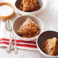 Pear nectar makes this Caramel-Pear Pudding Cake sticky and sweet: http://www.bhg.com/recipes/slow-cooker/soup-chili/winter-slow-cooker-recipes/?socsrc=bhgpin092814caramelpearpuddingcake&page=14