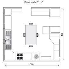 Plan de cuisine de 28m2