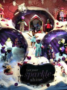 american girl store snow display