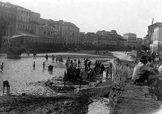 Río Guadalmedina. Málaga se quedó sin puente de  La Aurora tras la riada de 1907.
