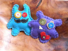 Monster Magnets on Wooden Clothespins by sewwhimsycreations, $10.00
