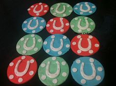 Fondant Cupcake Toppers - Horse Shoe Poker Chips