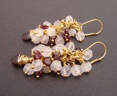 Rose quartz and garnet earring, 7PMboutique, 35.00