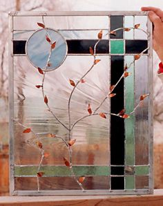 Stained Glass Window  Copper Leaves Panel by stainedglassfusion, $199.00