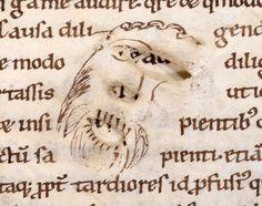 "parchment face on a century manuscript, the scribe worked around the holes to create an image of a laughing bearded man, ""making art out of flaws"", posted by erik kwakkel on tumbler Medieval Books, Medieval Manuscript, Illuminated Manuscript, Bernard Of Clairvaux, Book Repair, Colossal Art, Scribe, Book Format, 14th Century"
