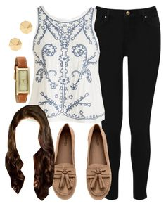 """""""Spencer Hastings inspired outfit with black jeans"""" by liarsstyle ❤ liked on Polyvore featuring Warehouse, H&M and Rebecca Minkoff"""