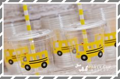 School Bus Birthday Party Cups-Favor by PartyCupMedley on Etsy