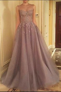 Long Tulle Prom Dress Lace Beaded Women Party Dress by prom dresses, $165.86 USD