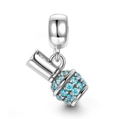 Nail Color Dangle Charm 925 Sterling Silver