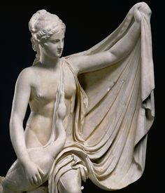 Statue of Leda and the swan. Found in 1775 at Villa Magnani on the Palatine Hill in Rome, Italy. Roman copy of a Greek original of the 300s B.C., attributed to Timotheos. Marble. J. Paul Getty Museum.