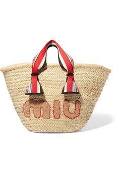 4956301dab Miu Miu - Embroidered straw tote Sac À Main, Accessoires, Sacs À Main De
