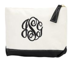 Black Monogrammed Canvas Cosmetic Bag - BeauJax Boutique There's nothing like the simple elegance of a monogrammed, cotton canvas cosmetic bag! This bag is just waiting for your personalized style. Choose your favorite monogram font and thread color. www.beaujax.com