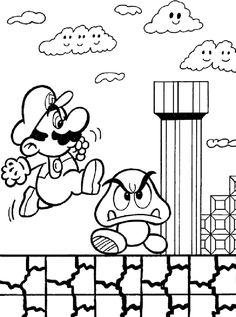 Super Mario Brothers Kids Color By Number Coloring Page Good For Party Activities