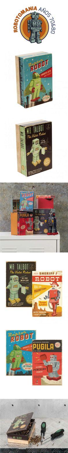 Cajas reto de personajes de ficción que cobran vida propia, cada uno de ellos con un superpoder. Diseños inspirados en los robots de los años 70 y 80. Unas cajas de almacenaje que además decorarán tu casa con un estilo reto-vintage. Para amantes de los robots es el regalo perfecto. #retro, #robot, #decoracion, #diseño, #regalosoriginales