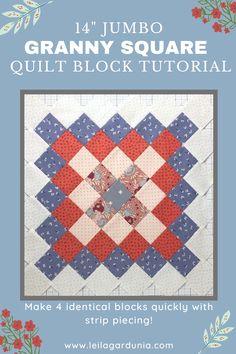 Jellyroll Quilts, Scrappy Quilts, Baby Quilts, Big Block Quilts, Quilt Blocks, Granny Square Quilt, Mini Quilt Patterns, Quilting Tutorials, Sewing Basics