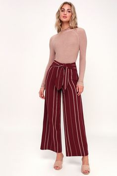 The Moon River Elliott Wine Red Striped Waist-Tie Palazzo Pants are like pajamas, but like really chic pajamas! Cotton palazzo pants with trendy tying waist. Red Palazzo Pants, Cotton Palazzo Pants, Red High Waisted Pants, High Waisted Palazzo Pants, Striped Midi Dress, Striped Shorts, Plazzo Pants, Fall Outfits, Casual Outfits