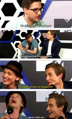 The Mortal Instruments: City of Bones at Comic Con #SDCC (7/19/13) haha Jamie Campbell Bower (to play Jace Wayland) with Kevin Zegers (to play Alec Lightwood) being interviewed by Josh Horowitz of MTV