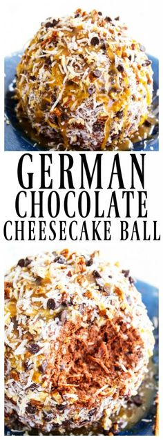 German Chocolate Cheesecake Ball - A Dash of Sanity Insanely delicious and easy, this GERMAN CHOCOLATE CHEESECAKE BALL is a simple, no-bake recipe that makes the perfect holiday recipes party center. Dessert Dips, Dessert Recipes, Desserts, Dip Recipes, Recipies, Cheese Ball Recipes, Appetizer Recipes, Appetizers, Cake Pops