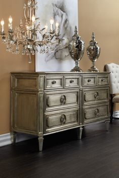 Layer Your Space In Champagne Hued Romance. Topped With Antiqued Beveled  Mirrors And Completed