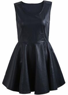 Vestido polipiel cuello redondo sin manga-Negro EUR€24.91