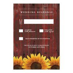 Red Barn Wood Rustic Sunflower Wedding RSVP Cards