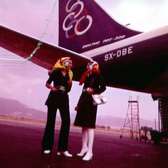 Olympic Airways by Tseklenis Olympic Airlines, Aristotle Onassis, Head Scarf Tying, Greek Fashion, Greek Design, Cabin Crew, Air Travel, Flight Attendant, Athens