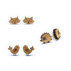 Laser cut jewellery - hedgehog, bird & fox earrings made from bamboo. http://etsy.me/1j0ssLN Owl & Otter