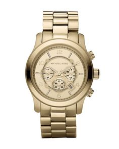 The next addition to my collection - Golden Oversized Runway Watch by Michael Kors at Neiman Marcus.