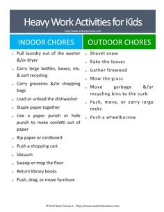 Heavy work chores for kids - great suggestions for kids with autism and/or sensory processing disorder Sensory Therapy, Sensory Tools, Autism Sensory, Sensory Diet, Sensory Issues, Autism Activities, Autism Resources, Work Activities, Sensory Activities