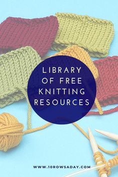 Library of Free Knitting Resources - knitting books, charts and patterns Beginner Knitting Patterns, Knitting Basics, Knitting Help, Knitting Books, Arm Knitting, Crochet Patterns For Beginners, Knitting For Beginners, Knitting Stitches, Knitting Designs