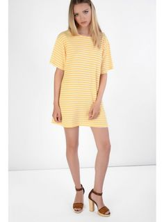 Yellow and brown striped dress