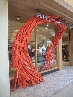 Anthropologie Display: wooden pieces into art.