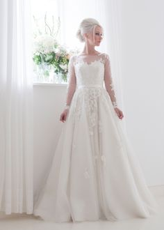 house of mooshki bridal 2015 long sleeves illusion neckline sweetheart lace  bodice fairytale ball gown tulle overlays beading wedding dress style  felicity ... 04a9f3aba9ed