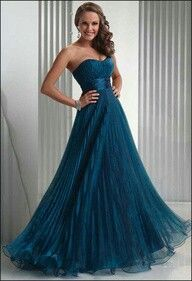 Peacock color long dress