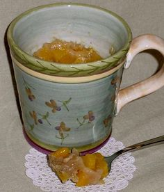 Easy Microwave Desserts in a Mug: Peach Cobbler in a Mug Mix, an Excerpt from Ea… - Healthy Dessert Plums And Peaches, Canned Peaches, Easy Microwave Desserts, Healthy Desserts, Easy Desserts, Microwave Meals, Easy Snacks, Easy Meals, Buttermilk Ice Cream