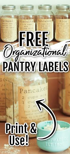 Grab these free printable labels and use them to organize your kitchen in style! You will love these and how they look in your pantry! Pantry Organization Labels, Pantry Labels, Pantry Storage, Diy For Teens, Diy For Kids, Cleaners Homemade, Diy Cleaners, Household Cleaning Tips, Cleaning Hacks