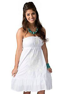 RU Cowgirl® Women's White Lena with White Floral Embroidery Strapless Dress