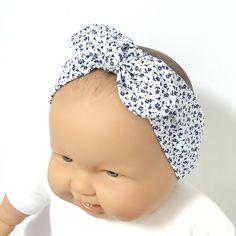 Bandeau bébé bleu marine et blanc à nouer et élastique taille 0 à 6 mois Tricotmuse de la boutique Tricotmuse sur Etsy