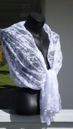 Etole écharpe foulard châle pour femme en dentelle blanche   agréable pour  mariage lin eva création nouvelle collection châle écharpe étole b5e9329c11e
