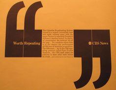 Lou Dorfsman, CBS News Cbs News, Corporate Identity, Vintage Designs, Conversation, Presentation, Typography, Layout, Mood, Graphic Design
