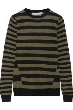 Jason Wu - Striped Silk Sweater - Army green - x small