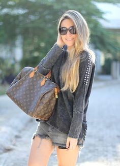 edgy style, Louis Vuitton bag.