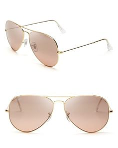 Pink rose Ray-Ban aviator sunglasses with gold frames