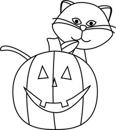 clip art black and white black and white cat and jack o lantern - Halloween Black And White