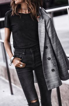 #fall #outfits women's black scoop-neck shirt and gray coat