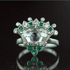 Qrt Deco Rose Cut Diamond Platinum Crown Ring